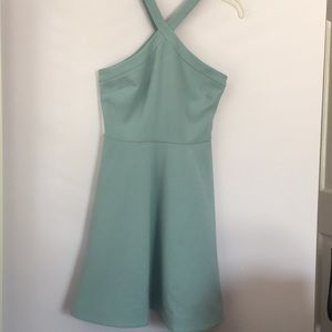 Likely Halter teal/blue mini dress